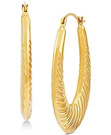Ridge Texture Oval Hoop Earrings in 14k Gold