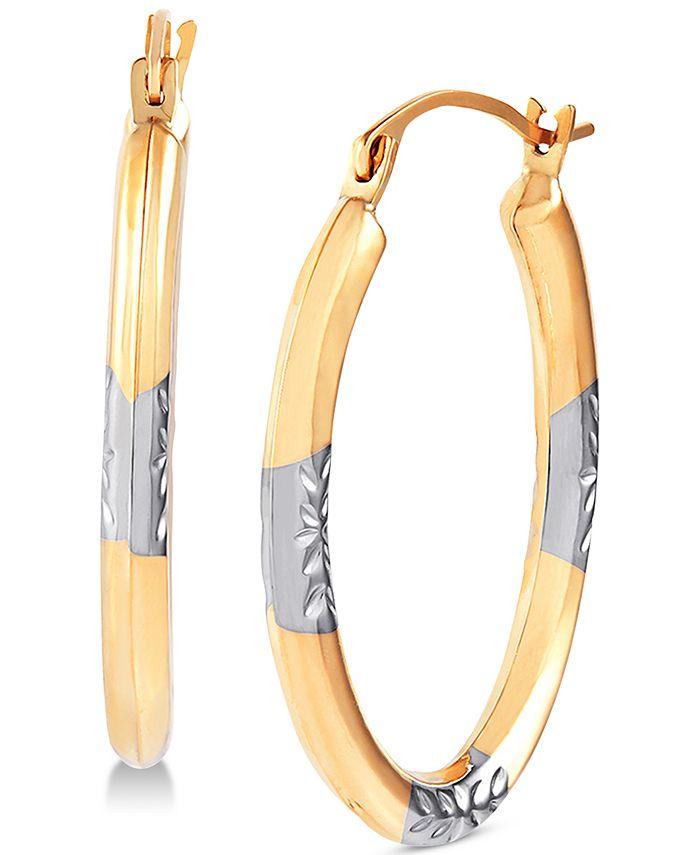 Macy's - Two-Tone Oval Hoop Earrings in 14k Gold & White Rhodium-Plate