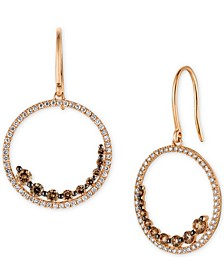 Chocolatier® Chocolate Diamond (3/4 ct. t.w.) & Vanilla Diamond (1/2 ct. t.w.) Drop Hoop Earrings in 14k Rose Gold