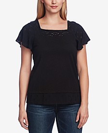 Short Sleeve Square Neck Embroidered Layered Top