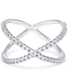Cubic Zirconia Crisscross Statement Ring in Sterling Silver, Created for Macy's