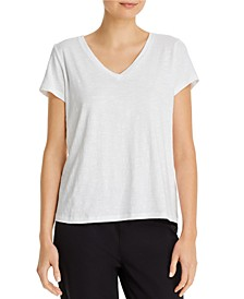 Organic Cotton Slub V-neck Tee