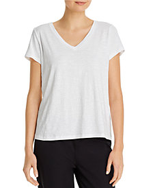 Eileen Fisher System Organic Cotton Slub V-neck Tee