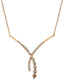 "Ombré Diamond (7/8 ct. t.w.) & Vanilla Diamond(1/4 ct. t.w.) 18"" Fancy Pendant Necklace in 14k Rose Gold"