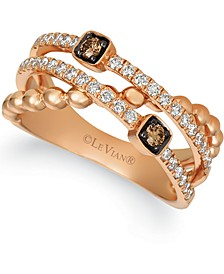 Chocolatier® Chocolate Diamonds® (1/10 ct. t.w.) & Vanilla Diamonds® (3/8 ct. t.w.) Open Work Ring in 14k Rose Gold