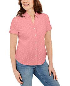 Karen Scott Petite Cotton Embroidered-Eyelet Shirt, Created for Macy's