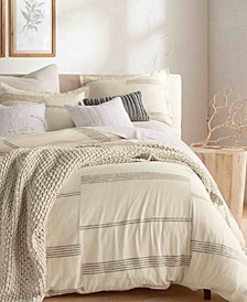 Pure Marled Stripe King 3 Piece Duvet Set