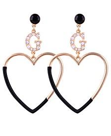 Gold-Tone Crystal & Stone Logo Heart Drop Earrings