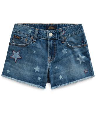 폴로 랄프로렌 걸즈 반바지 Polo Ralph Lauren Big Girls Star Denim Shorts,Messing Wash