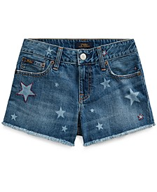 폴로 랄프로렌 Polo Ralph Lauren Big Girls Star Cotton Denim Shorts,Messing Wash