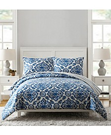Stitched Medallions Queen Comforter Set - 3Pc