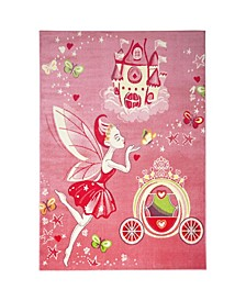 "Recess Fairies Pink 1'1"" x 2'11"" Area Rug"