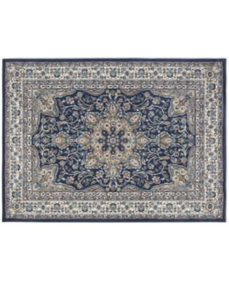 """Haven Hav09 Navy and Ivory 6'6"""" x 9'6"""" Area Rug"""
