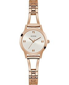 Women's Petite Diamond-Accent Rose Gold-Tone Stainless Steel Bracelet Watch 27mm