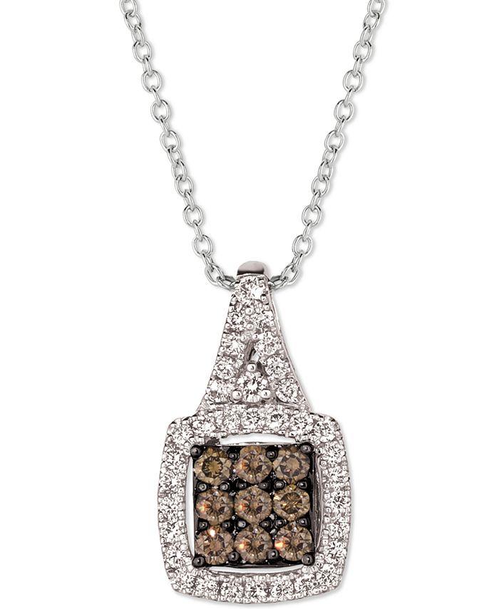 "Le Vian - Chocolate Diamond (1/3 ct. t.w.) & Nude Diamond (1/3 ct t.w.) Square Cluster 18"" Pendant Necklace in 14k White Gold"
