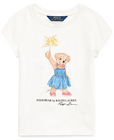 Big Girls Sparkler Bear Cotton T-Shirt