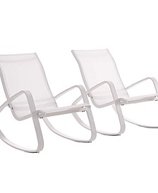 Traveler Rocking Lounge Chair Outdoor Patio Mesh Sling Set Of 2