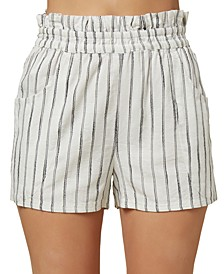 Juniors' Canter Striped Paperbag Shorts