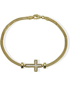 Cubic Zirconia East-West Cross Link Bracelet in 18k Gold-Plated Sterling Silver