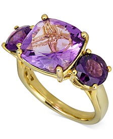 Pink Amethyst Three-Stone Ring (7 ct. t.w.) in 14k Gold-Plated Sterling Silver (Also in Green Amethyst)