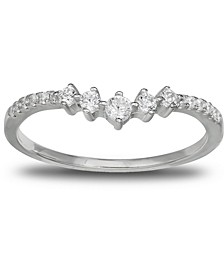 Cubic Zirconia V Band in Sterling Silver, Created for Macy's