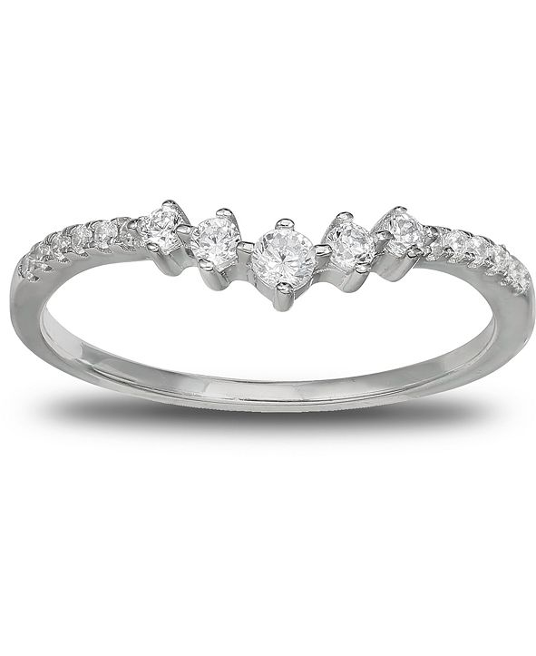 Giani Bernini Cubic Zirconia V Band in Sterling Silver, Created for Macy's