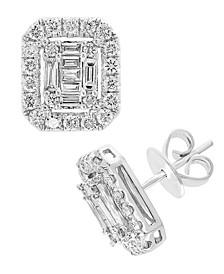 EFFY® Diamond Baguette Halo Stud Earrings (1 ct. t.w.) in 14k White Gold