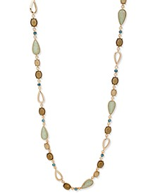 "Gold-Tone Crystal & Stone 42"" Strand Necklace"