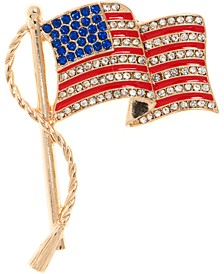 Gold-Tone Pavé Red, White & Blue Flag Pin, Created for Macy's