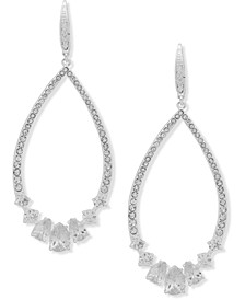 Silver-Tone Pavé & Cubic Zirconia Statement Earrings