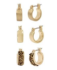 Gold-Tone Stone Huggie Hoop Earrings Set