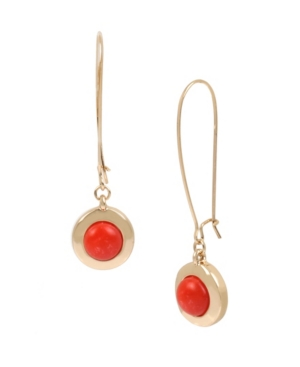 Kenneth Cole New York Gold-Tone Cabochon Circle Long Drop Earrings