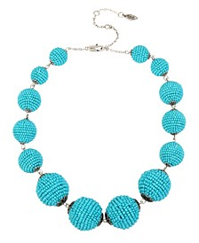 New York Woven Turquoise Beaded Ball Collar Necklace