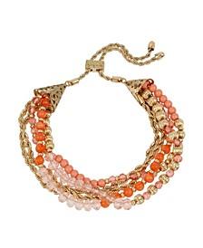 New York Imitation Pearl Bead Slider Bracelet