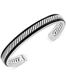 EFFY® Etched Leather-Trimmed Bangle Bracelet in Sterling Silver
