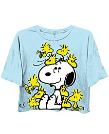 Juniors' Peanuts Exploded Cropped T-Shirt