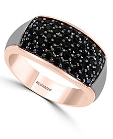 EFFY® Men's Black Spinel Two-Tone Ring (1-5/8 ct. t.w.) in Sterling Silver & 14k Rose Gold-Plate