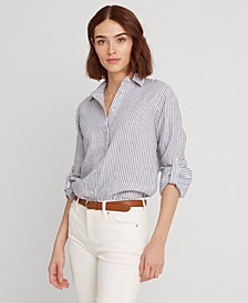 Lauren Ralph Lauren Striped Linen Shirt,Stormy Sky/white