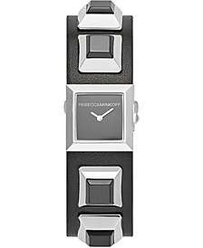 Women's Jett Silver-Tone Stud & Black Leather Strap Watch 22mm