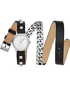 Women's BFFL Stainless Steel Chain & Black Leather Triple Wrap Strap Watch 25mm