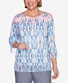 Stained Glass Three-Quarter Bell Sleeve Embellished Neckline Knit Top