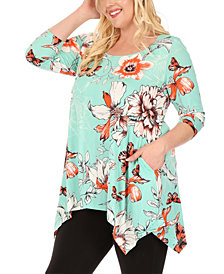 White Mark Women's Plus Size Floral Scoop Neck Tunic Top with Pockets