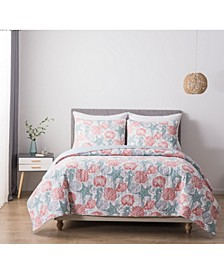South Beach Full/Queen Cotton Quilt and Sham Set