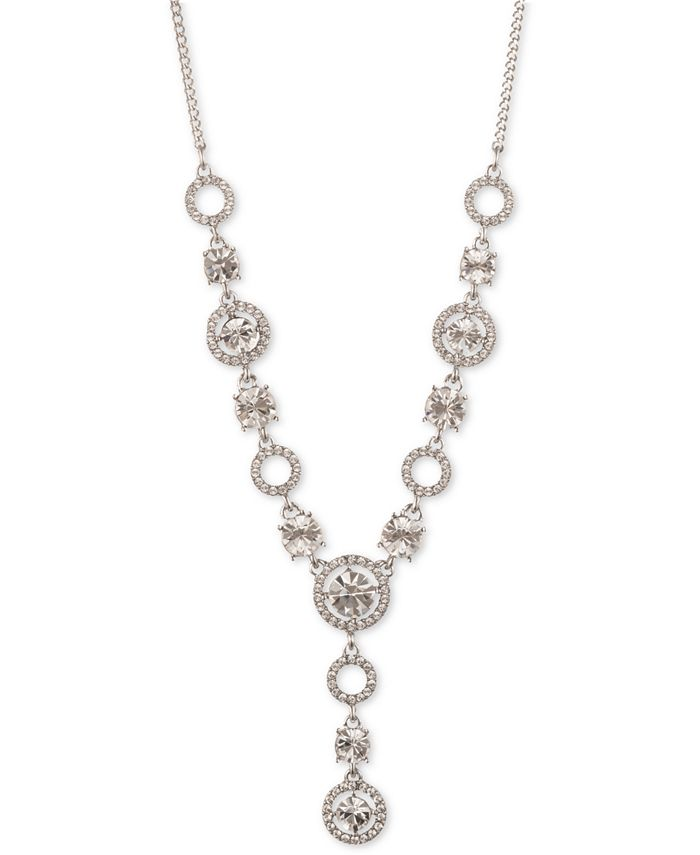 """Givenchy - Silver-Tone Crystal Lariat Necklace, 16"""" + 3"""" extender"""