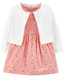 Baby Girls 2-Pc. Cotton Floral-Print Bodysuit Dress & Cardigan Set