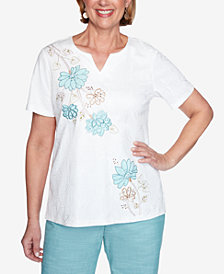Alfred Dunner Plus Size Short Sleeve Asymmetric Flower Applique Knit Top