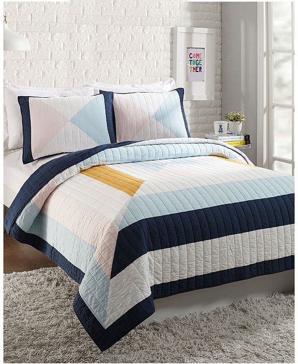 Makers Collective Diamond Patchwork 3-Piece King Quilt Set