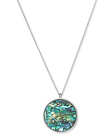 """Silver-Tone Hammered Coin & Abalone Reversible Pendant Necklace, 32"""" + 2"""" extender"""