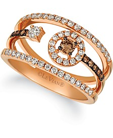 Chocolate Diamond (3/8 ct. t.w.) & Vanilla Diamond (1/20 ct. t.w.) Statement Ring in 14k Rose Gold