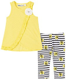 Little Girls 2-Pc. Ruffled Flower Top & Leggings Set